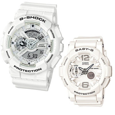 G-SHOCK & BABY-G 暢銷人氣白色對錶-白/51.2+44.0mm