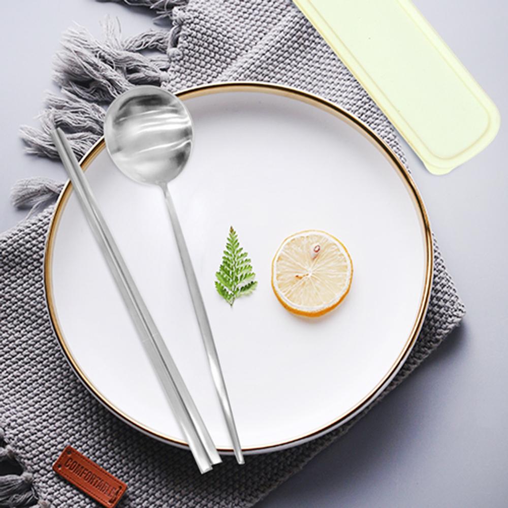Homely Zakka簡約時尚北歐風304不鏽鋼餐具組(筷子+湯匙)-本色銀