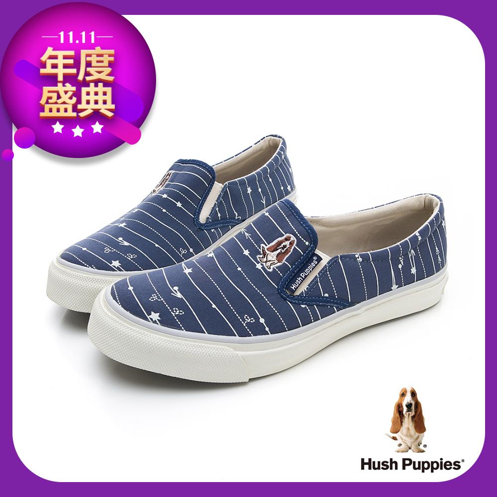 Hush Puppies 塗鴉線條咖啡紗休閒便鞋-深藍