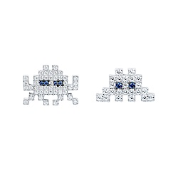 apm MONACO法國精品珠寶 閃耀銀色鑲鋯太空戰士耳針式耳環