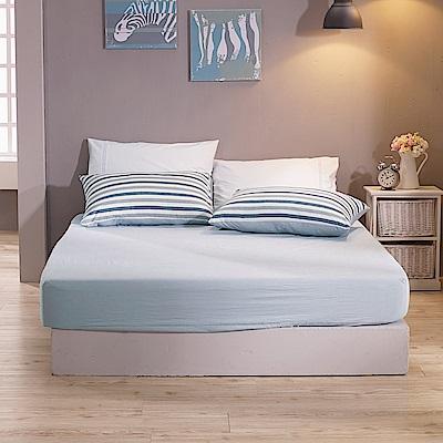 鴻宇 雙人床包組枕套 色織水洗棉 希爾達 台灣製