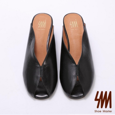 SM-簡約素面真皮粗跟魚口穆勒鞋