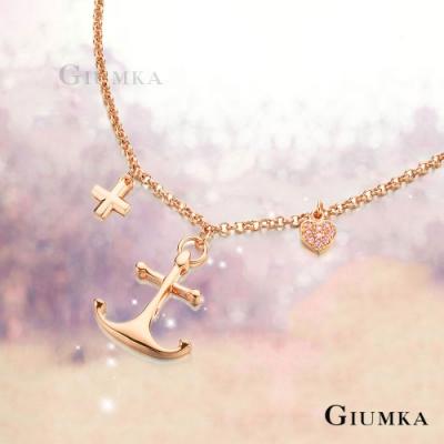 GIUMKA船錨項鍊造型夏日海洋女神鍍白K