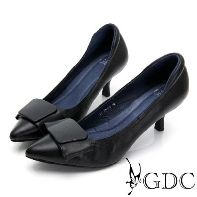 GDC-真皮歐風蝴蝶結尖頭素雅跟鞋-黑色