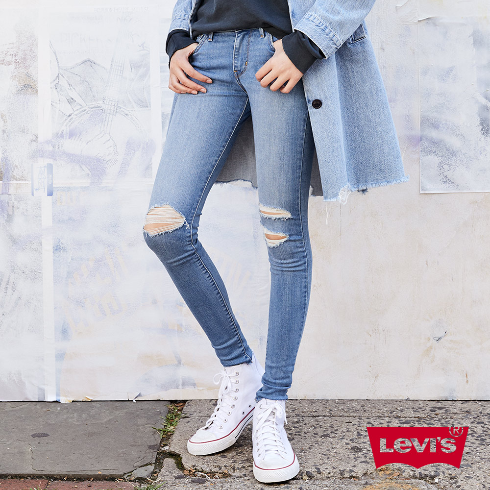 Levis 女款 710 中腰超緊身窄管 超彈力牛仔褲 個性破壞