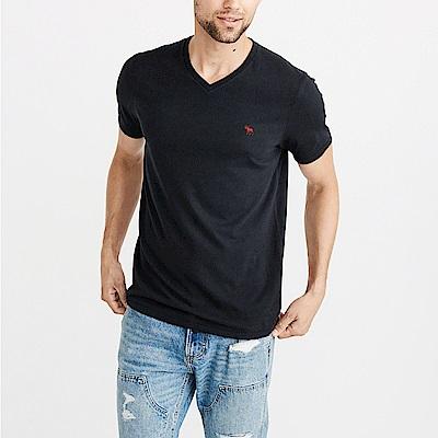 麋鹿 AF A&F 經典V領刺繡麋鹿素面短袖T恤-深藍色