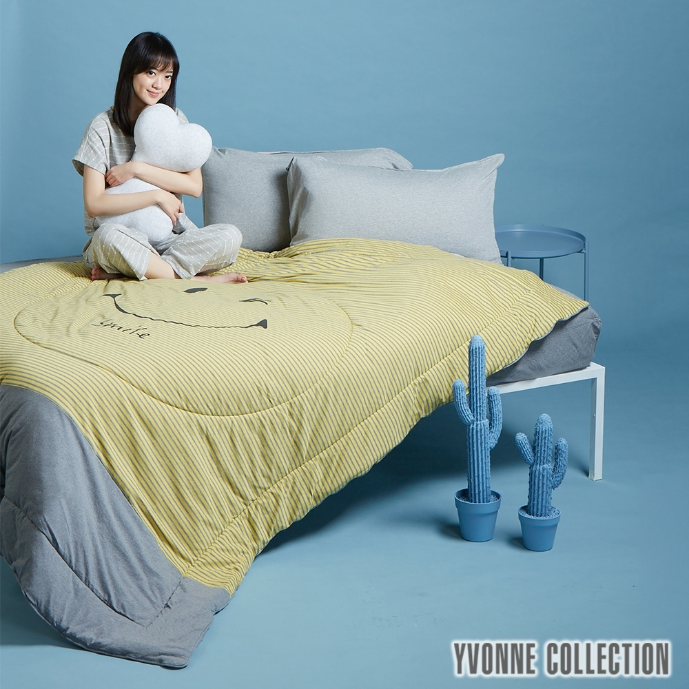 YVONNE COLLECTION 笑臉單人涼被(5x7呎)- 芥黃