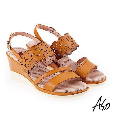 A.S.O 挺麗氣墊 沖孔幾何圖騰全真皮氣墊楔型涼鞋 茶