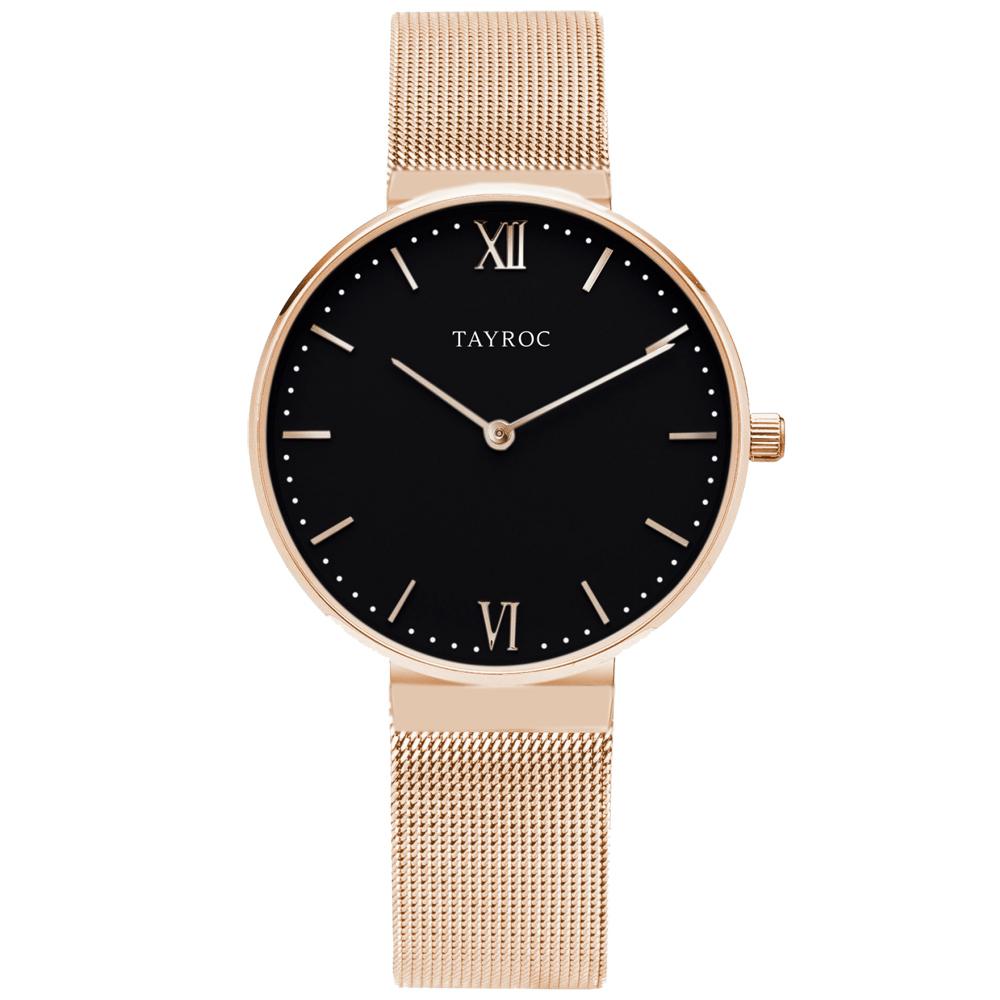 TAYROC  浪漫奢華時尚米蘭腕錶-玫瑰金X黑(TY149)-36mm
