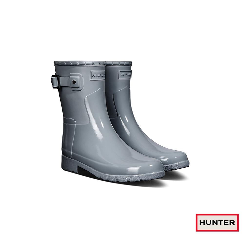 HUNTER - 女鞋-Refined拼接亮面短靴 - 灰