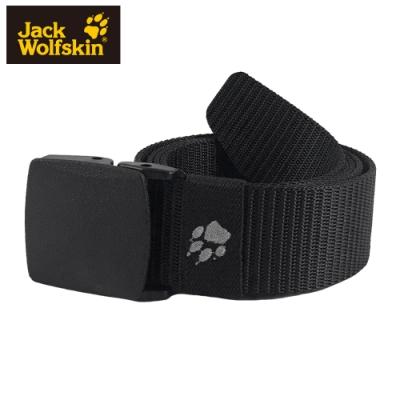 【Jack Wolfskin 飛狼】YKK塑鋼扣狼爪刺繡尼龍腰帶『黑』