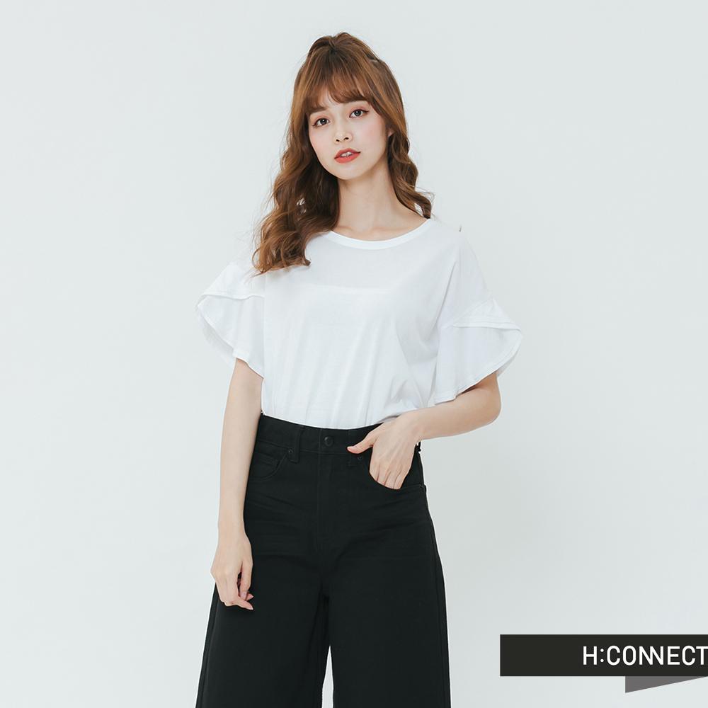 H:CONNECT 韓國品牌 女裝-荷葉袖造型上衣-白
