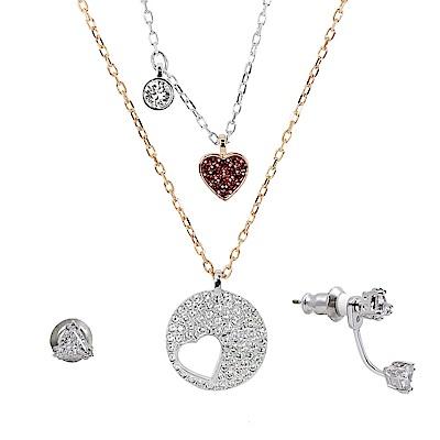 【福利品】SWAROVSKI 施華洛世奇 紅心x圓形鏤空愛心水晶 玫瑰金銀雙色項鍊+耳環組