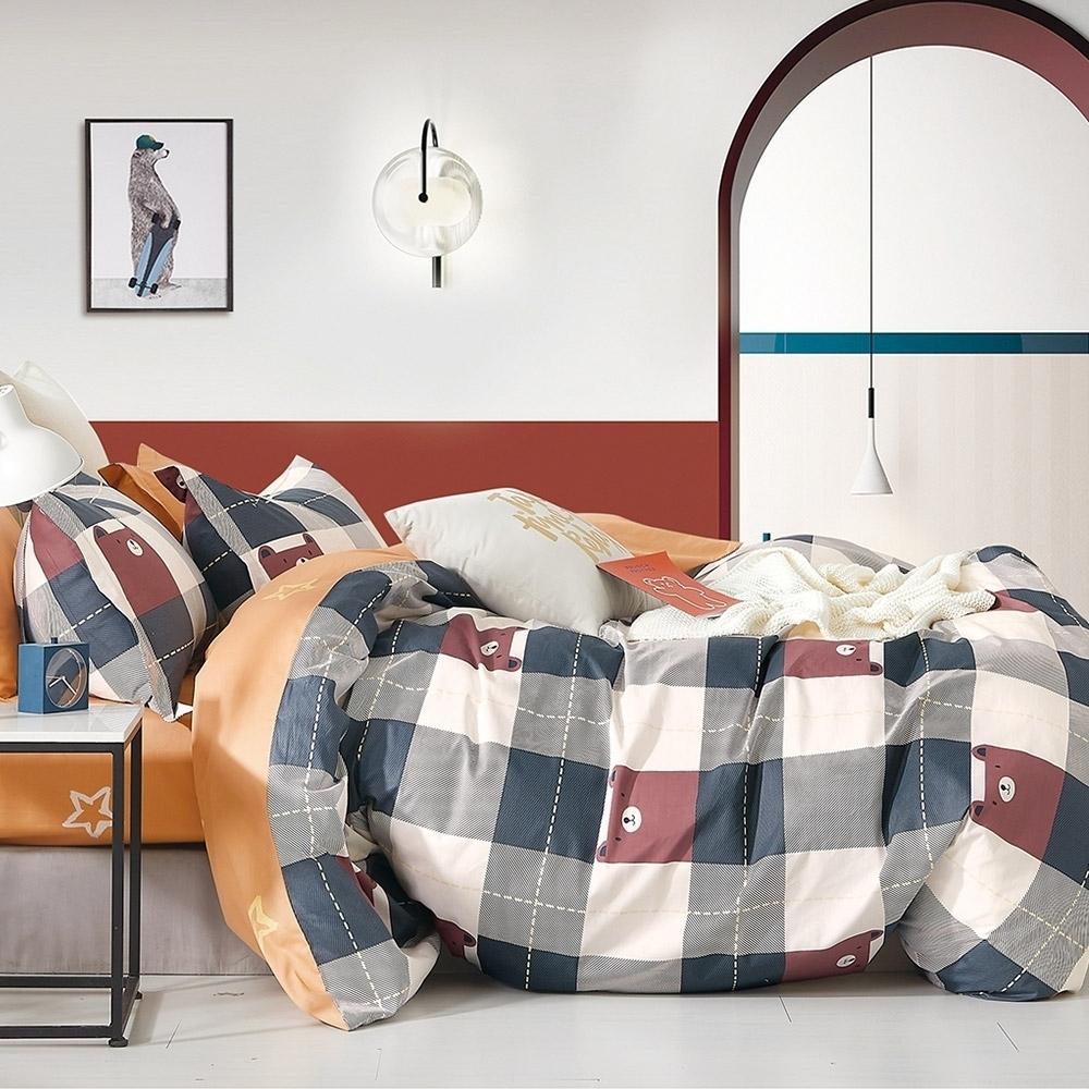 (買一送一)DUYAN竹漾-100%精梳純棉-單/雙/大床包枕套組-多款任選 台灣製 (小熊軟鋪)