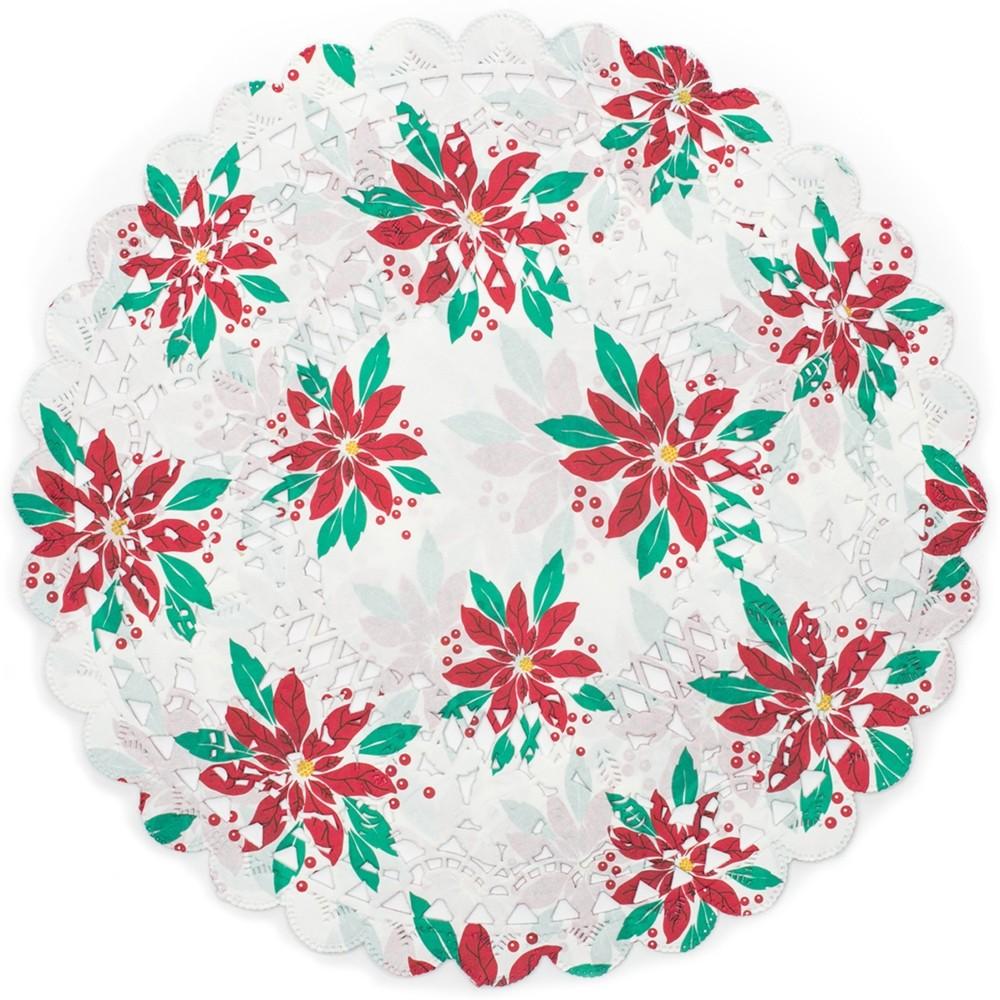 《FOXRUN》12吋蕾絲花邊蛋糕紙墊12入(聖誕紅)