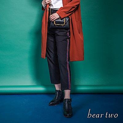 beartwo 彩色滾邊壓條九分闊腿褲(黑色)