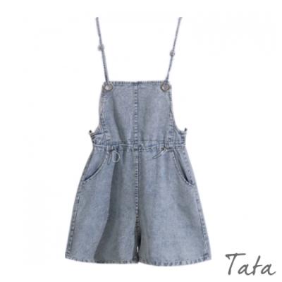 扣環吊帶牛仔短褲 TATA-(S~XL)