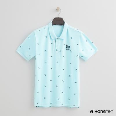 Hang Ten - 男裝 - 海灘滿版印花造型POLO衫 - 藍