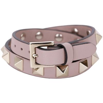 VALENTINO Rockstud 金色鉚釘雙繞小牛皮手環(粉耦色)