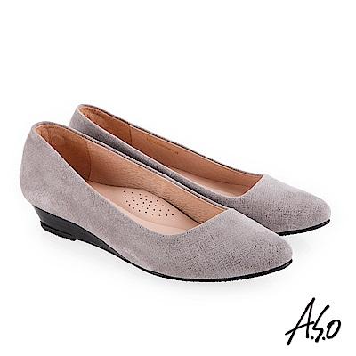 A.S.O 義式簡約 羊絨皮素面優雅低跟鞋 灰