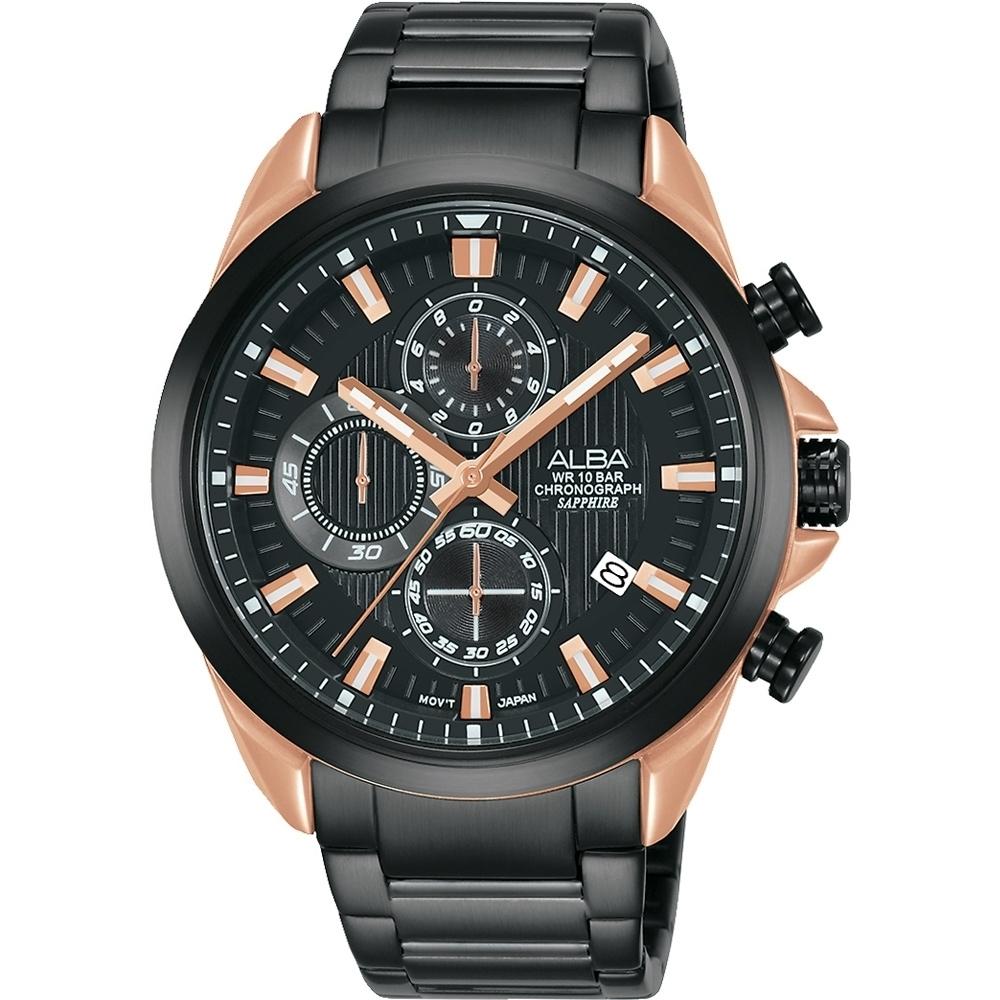 ALBA 雅柏 計時多功能腕錶-43MM黑/玫瑰金(VD57-X187K/AM3818X1)