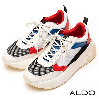 ALDO 原色拼接多彩異材質厚底休閒鞋~拼接多色