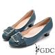 GDC-真皮馬毛歐美知性設計感釦飾低跟鞋-藍色 product thumbnail 1