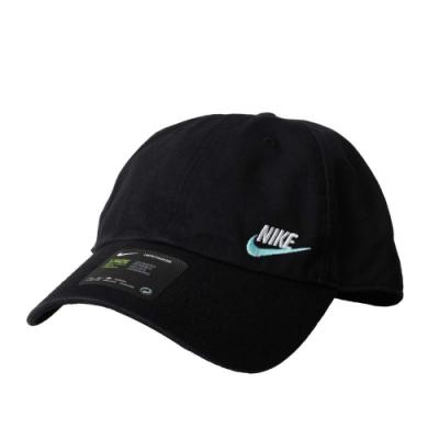 NIKE 運動帽-遮陽 帽子 防曬 鴨舌帽 老帽 刺繡 AO8662-017 黑藍白