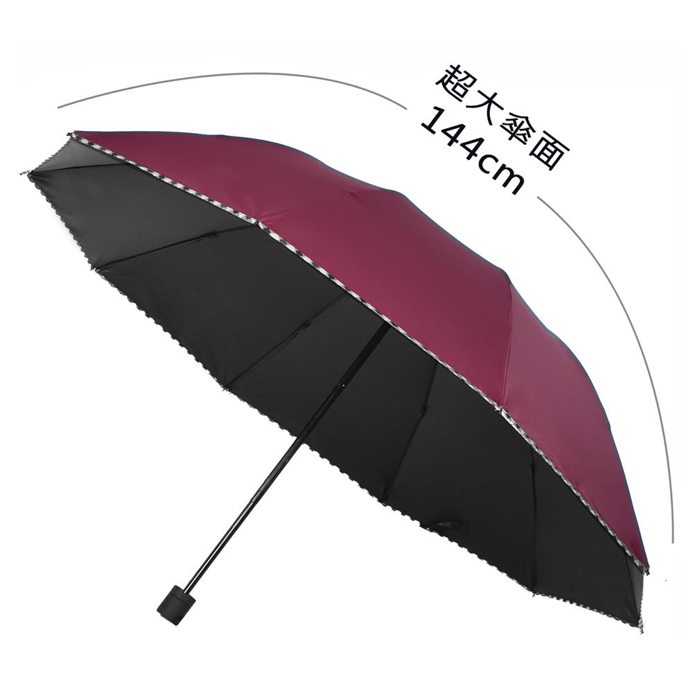 2mm 巨無霸大傘面 格紋邊條黑膠降溫手開傘 (酒紅)