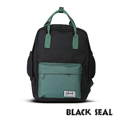 BLACK SEAL 聯名8848系列-多隔層休閒小方型後背包-黑綠BS83008