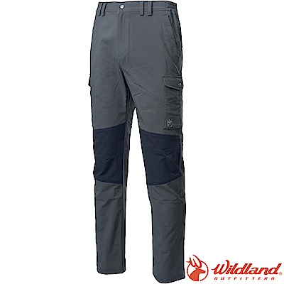 Wildland 荒野 0A62332-64深卡灰 男拚接彈性保暖長褲