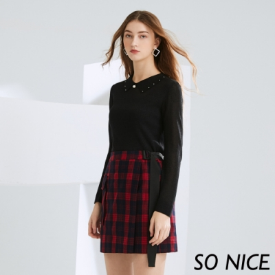 SO NICE俏麗法蘭絨格紋造型短裙