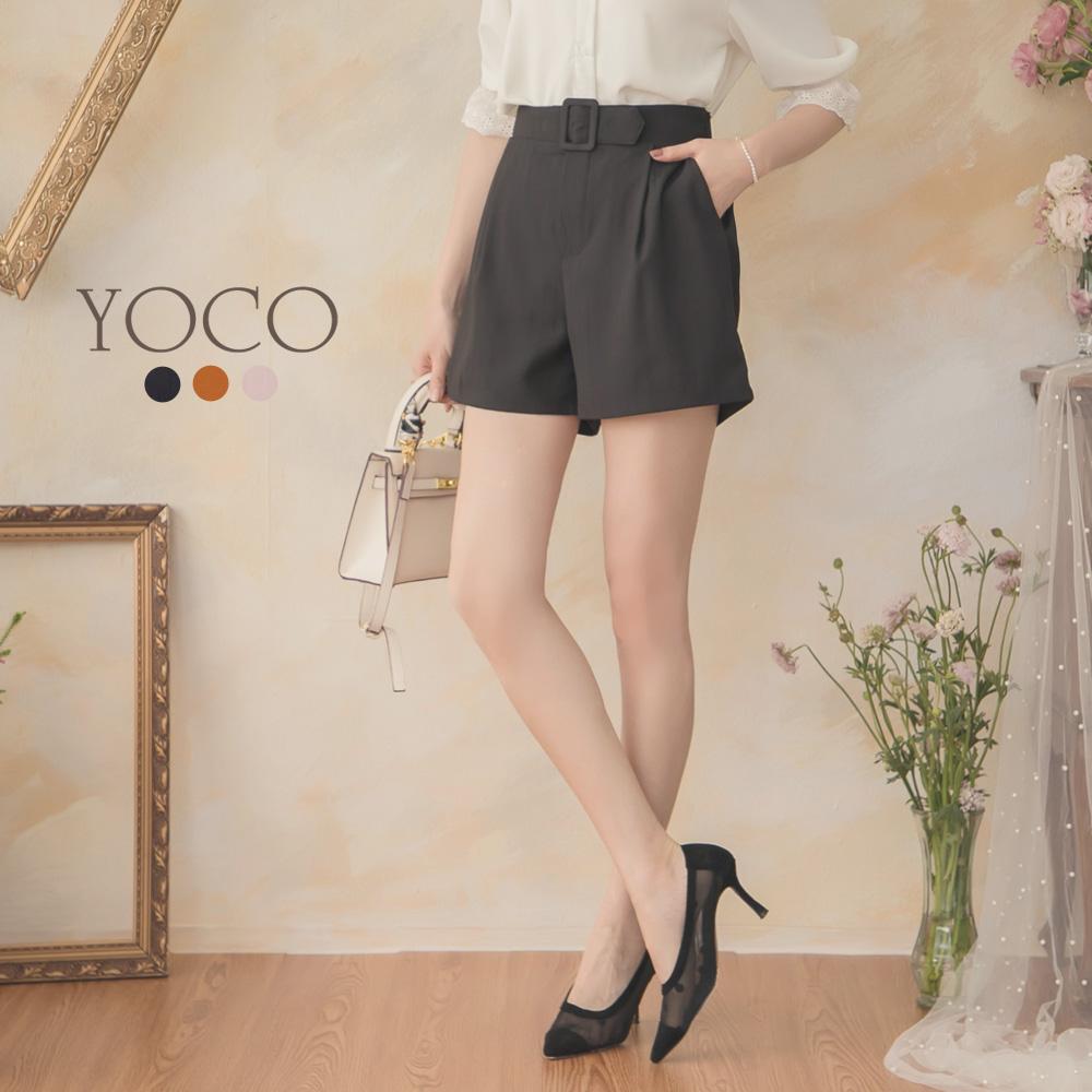 東京著衣-YOCO 簡約質感打褶方扣條紋後鬆緊短褲-S.M.L(共三色)