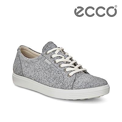 ECCO SOFT 7 W 骨瓷皮革紋路經典輕巧休閒鞋 女-淺灰