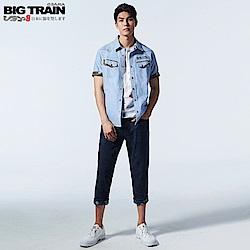 BigTrain 天絲棉反摺配布八分褲-男-深藍