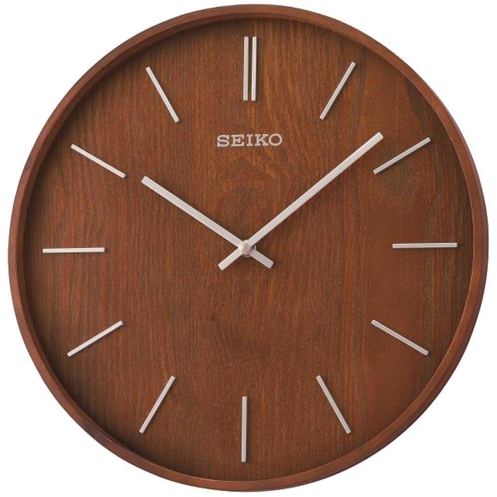 SEIKO 日本精工 木質外殼 立體時標 掛鐘 時鐘(QXA765B)33.2cm