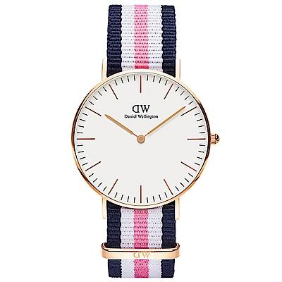 DW手錶 官方旗艦店 36mm玫瑰金框 Classic 活潑藍粉尼龍帆布手錶