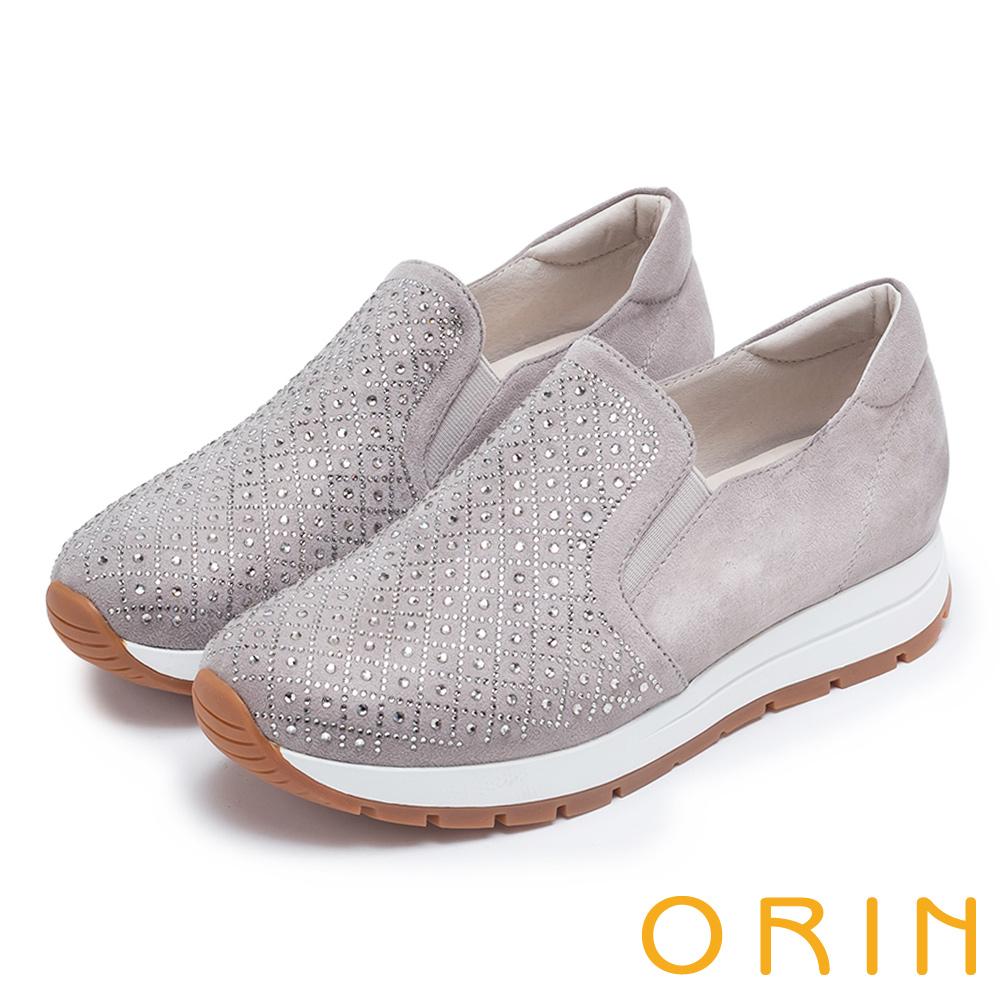 ORIN 時尚渡假風 鞋面規則燙鑽平底休閒鞋-灰色