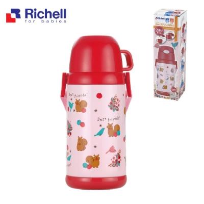 【Richell 利其爾】304不鏽鋼兩用保溫水壺-甜心森林 【附背帶】