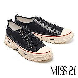 休閒鞋 MISS 21 復古玩味撞色異材質綁帶厚底休閒鞋-黑