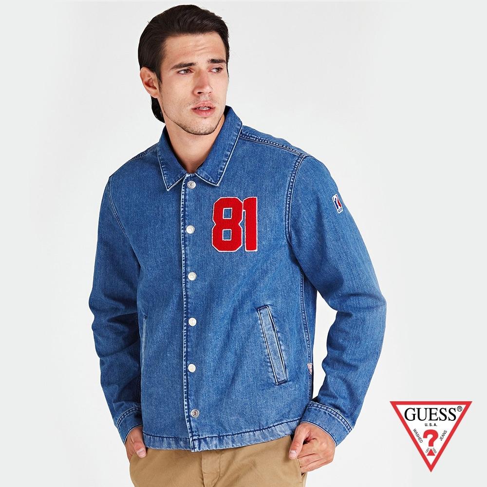 GUESS-男裝-美式街頭牛仔外套-藍