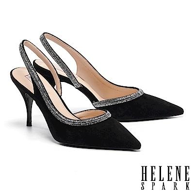 高跟鞋 HELENE SPARK 璀璨晶鑽後繫帶全真皮尖頭美型高跟鞋-黑