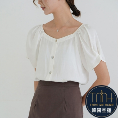 韓國空運 花苞袖棉麻上衣-2色-TMH