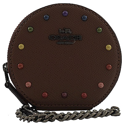 COACH 可愛圓形造型牛皮零錢包(巧克力球)