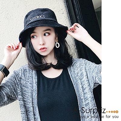 A-Surpriz SOS英字燈芯絨布漁夫帽(黑)