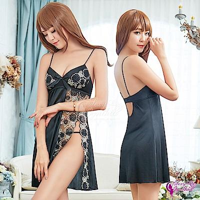 Sexy Cynthia性感睡衣 魅惑黑色柔緞緹花刺繡側開襟二件式睡衣-黑F