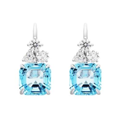 SWAROVSKI施華洛世奇SPARKLING 海藍水晶穿孔耳環