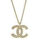CHANEL 經典大C LOGO鑲珍珠裝飾項鍊(香檳金)