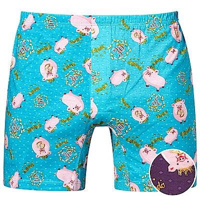 DADADO-豬事如意 M-3L 印花平口內褲(紫)