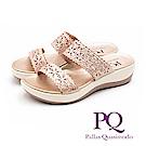 PQ 華麗閃耀 鏤空雕花厚底雙帶拖鞋 女鞋 - 玫瑰金(另有古銅灰)